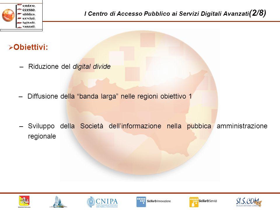 22 I Centro di Accesso Pubblico ai Servizi Digitali Avanzati (2/8) Obiettivi: –Riduzione del digital divide –Diffusione della banda larga nelle region