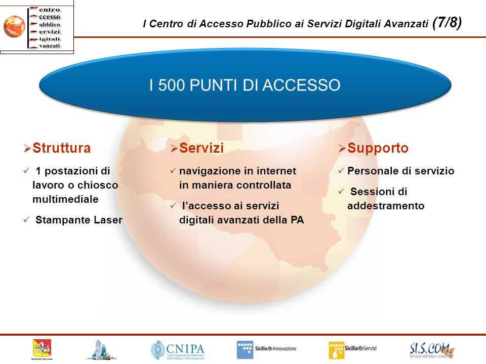 I Centro di Accesso Pubblico ai Servizi Digitali Avanzati (7/8) I 500 PUNTI DI ACCESSO Struttura 1 postazioni di lavoro o chiosco multimediale Stampan