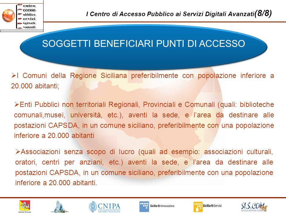 I Centro di Accesso Pubblico ai Servizi Digitali Avanzati (8/8) SOGGETTI BENEFICIARI PUNTI DI ACCESSO I Comuni della Regione Siciliana preferibilmente