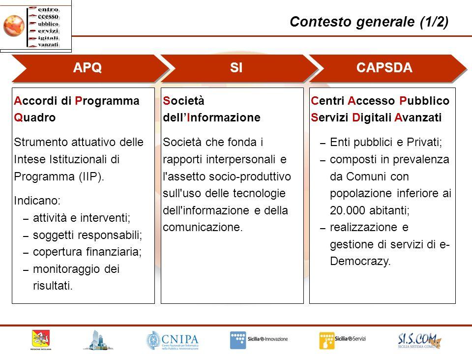 3 Contesto generale (1/2) APQ Accordi di Programma Quadro Strumento attuativo delle Intese Istituzionali di Programma (IIP). Indicano: – attività e in
