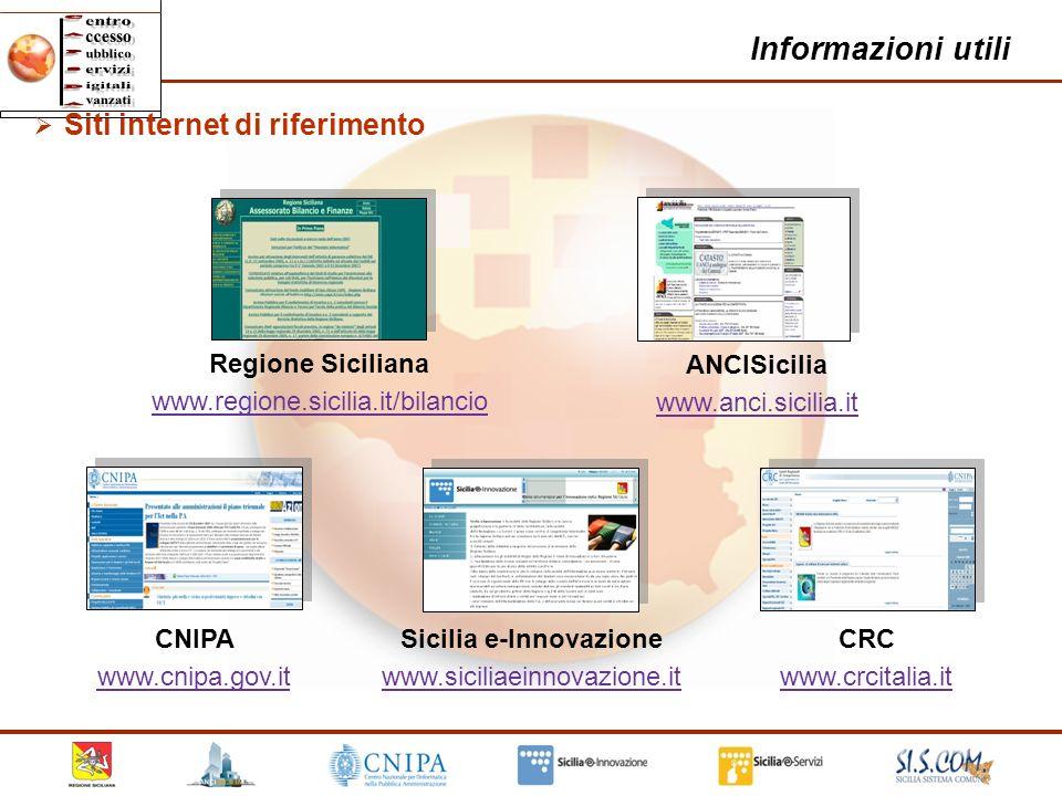 31 Informazioni utili Sicilia e-Innovazione www.siciliaeinnovazione.it www.siciliaeinnovazione.it ANCISicilia www.anci.sicilia.it CNIPA www.cnipa.gov.