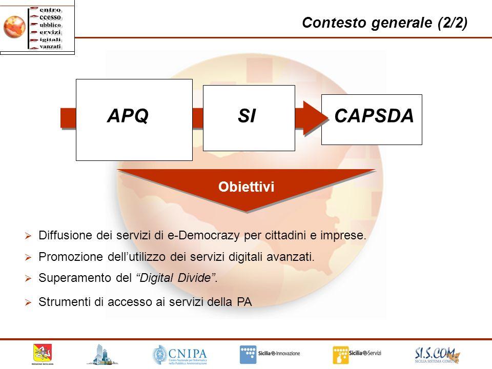 4 Contesto generale (2/2) APQSICAPSDA Obiettivi Diffusione dei servizi di e-Democrazy per cittadini e imprese. Strumenti di accesso ai servizi della P