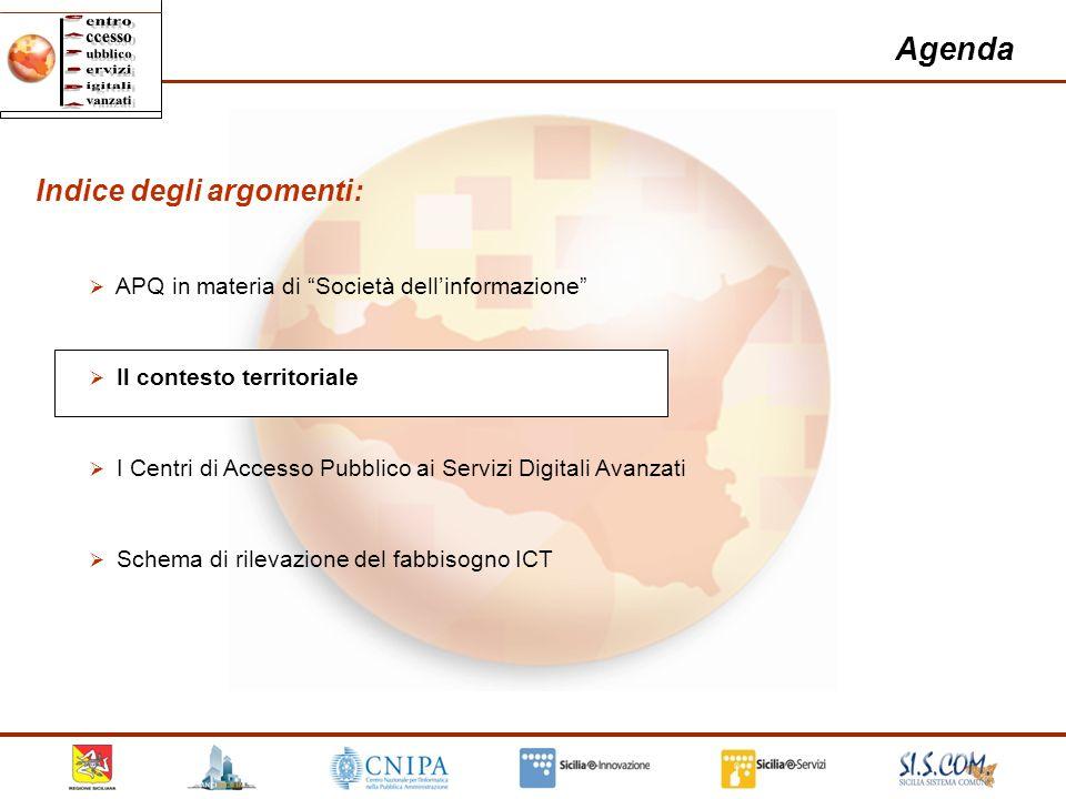 7 Agenda Indice degli argomenti: APQ in materia di Società dellinformazione Il contesto territoriale I Centri di Accesso Pubblico ai Servizi Digitali