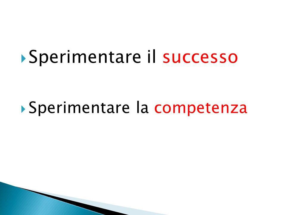 Sperimentare il successo Sperimentare la competenza