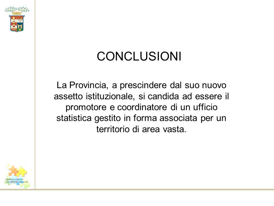 CONCLUSIONI La Provincia, a prescindere dal suo nuovo assetto istituzionale, si candida ad essere il promotore e coordinatore di un ufficio statistica gestito in forma associata per un territorio di area vasta.