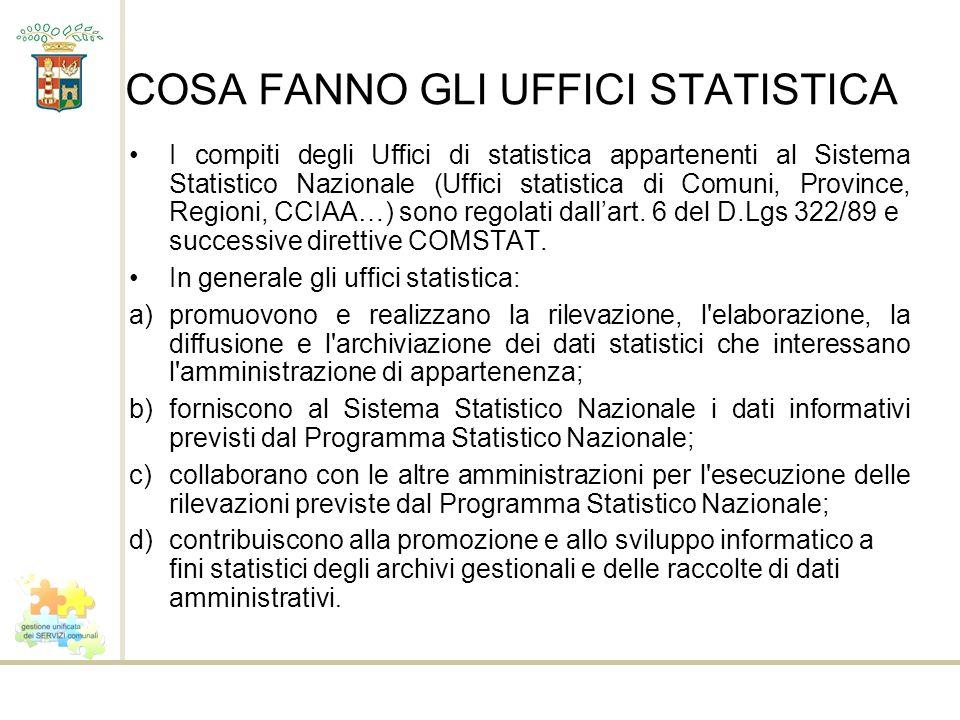 COSA FANNO GLI UFFICI STATISTICA I compiti degli Uffici di statistica appartenenti al Sistema Statistico Nazionale (Uffici statistica di Comuni, Provi