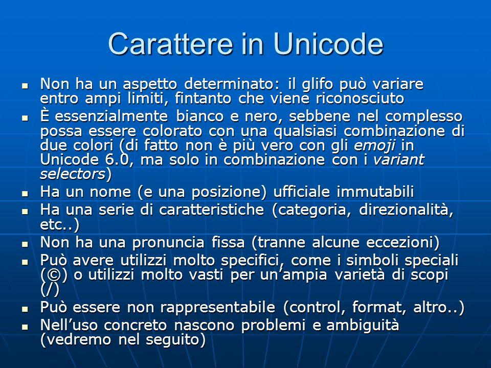 Carattere in Unicode Non ha un aspetto determinato: il glifo può variare entro ampi limiti, fintanto che viene riconosciuto Non ha un aspetto determin