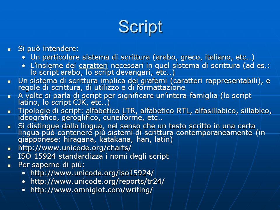 Script Si può intendere: Si può intendere: Un particolare sistema di scrittura (arabo, greco, italiano, etc..)Un particolare sistema di scrittura (ara