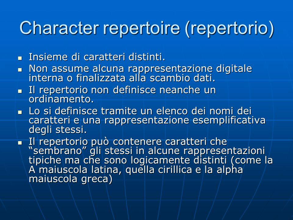 Character code (codice) Una mappatura, spesso presentata in forma tabulare, tra i caratteri del repertorio e un insieme di interi non negativi Una mappatura, spesso presentata in forma tabulare, tra i caratteri del repertorio e un insieme di interi non negativi Assegna ad ogni carattere un codice numerico (code position, o code point) Assegna ad ogni carattere un codice numerico (code position, o code point) I numeri assegnati non devono necessariamente essere consecutivi I numeri assegnati non devono necessariamente essere consecutivi Implica (ovviamente) la definizione del repertorio Implica (ovviamente) la definizione del repertorio