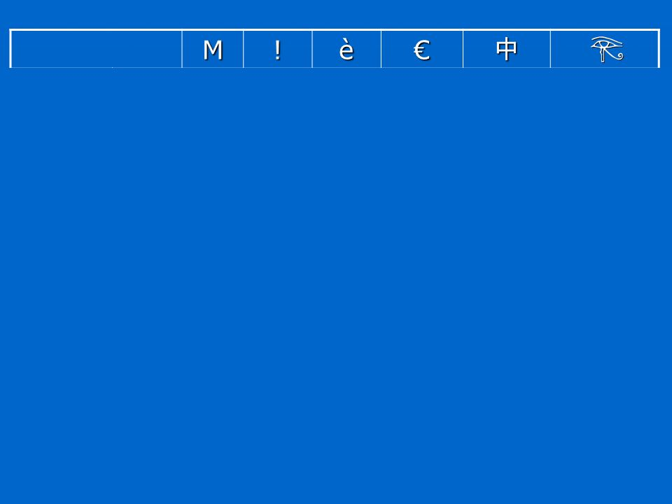 M!è ASCII Code point (decimale) 7733 Encoding(Byte) 4D21 Latin1 7733232 Encoding(Byte) 4D21E8 Windows 1252 Code point (decimale) 7733232128 Encoding(Byte) 4D21E880 GB 2312 Code point (decimale) 77338085448 Encoding EUC-CN (Byte) 4D21A8A8D6D0 Unicode Code point (decimale) 773323283642001377952 Encoding UTF-16 BE (Byte) 004D002100E820AC4E2DD80CDC80 Encoding UTF-8 (Byte) 4D21C3A8E282ACE4B8ADF0938280