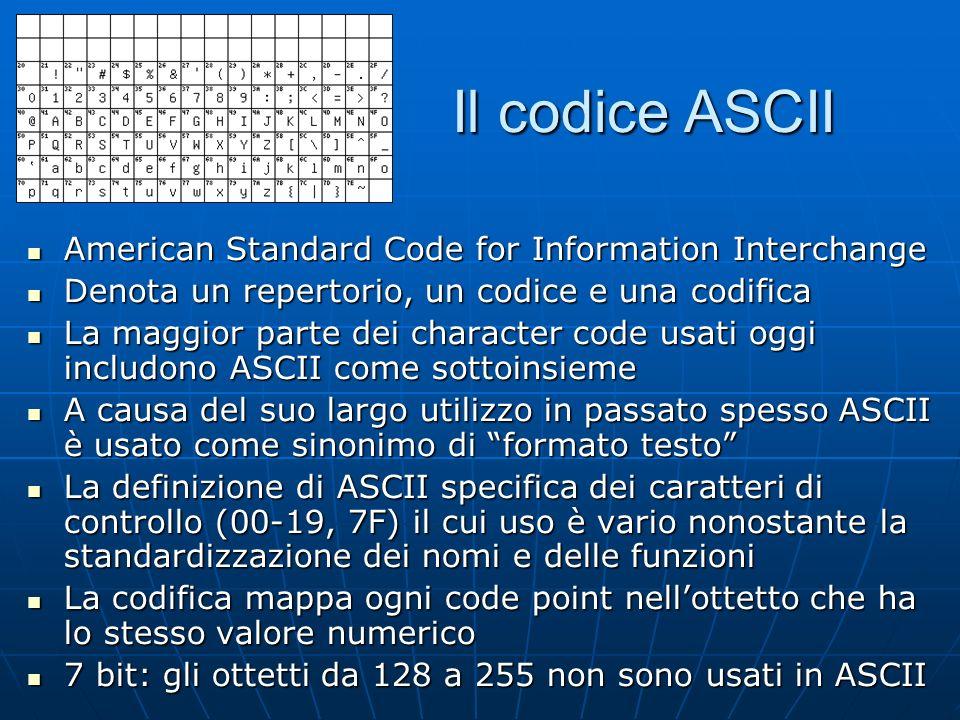 Il codice ASCII American Standard Code for Information Interchange American Standard Code for Information Interchange Denota un repertorio, un codice