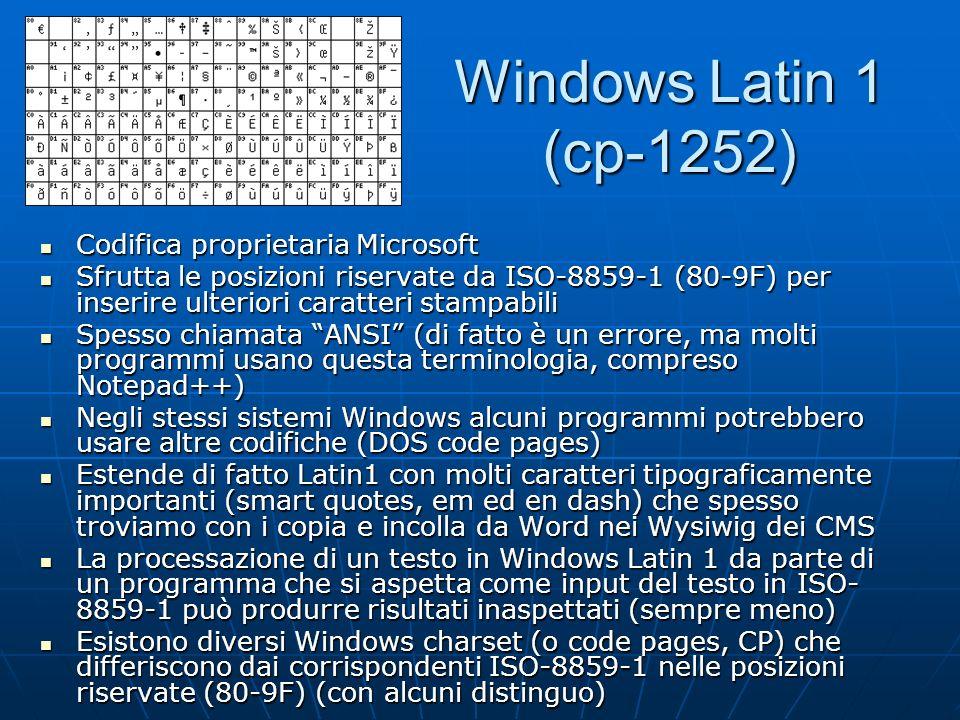 La famiglia ISO 8859 Analogamente allestensione di ASCII da parte di ISO-8859-1 e Windows Latin1 sono state standardizzate molte altre estensioni a 8 bit, la più importante delle quali è ISO 8859 Analogamente allestensione di ASCII da parte di ISO-8859-1 e Windows Latin1 sono state standardizzate molte altre estensioni a 8 bit, la più importante delle quali è ISO 8859 Attualmente esistono 15 parti dellISO 8859 Attualmente esistono 15 parti dellISO 8859 Ad esempio: ISO-8859-2 estende ASCII con i caratteri necessari nelle lingue dellEuropa centrale e orientale Ad esempio: ISO-8859-2 estende ASCII con i caratteri necessari nelle lingue dellEuropa centrale e orientale 80-9F sono posizioni riservate in tutto ISO 8859 80-9F sono posizioni riservate in tutto ISO 8859 Si utilizza sempre lo stesso encoding (ottetto con lo stesso valore numerico) Si utilizza sempre lo stesso encoding (ottetto con lo stesso valore numerico) ISO-8859-15 alias Latin9 (introduzione del simbolo dellEuro e correzioni a Latin1) è stato un fallimento ISO-8859-15 alias Latin9 (introduzione del simbolo dellEuro e correzioni a Latin1) è stato un fallimento http://www.cs.tut.fi/~jkorpela/8859.html http://www.cs.tut.fi/~jkorpela/8859.html
