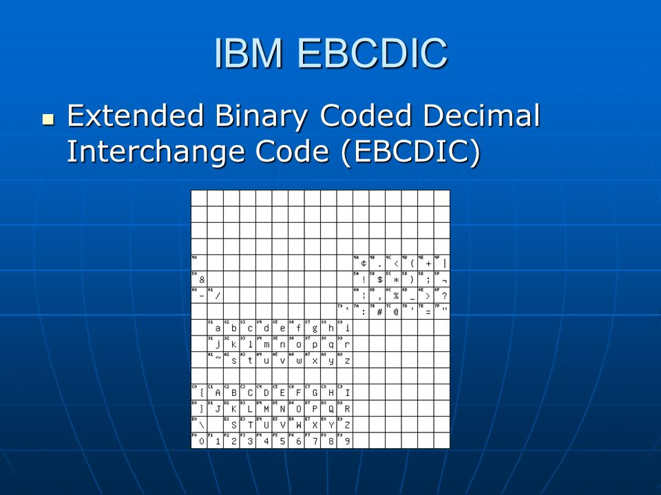 IBM EBCDIC Extended Binary Coded Decimal Interchange Code (EBCDIC) Extended Binary Coded Decimal Interchange Code (EBCDIC)