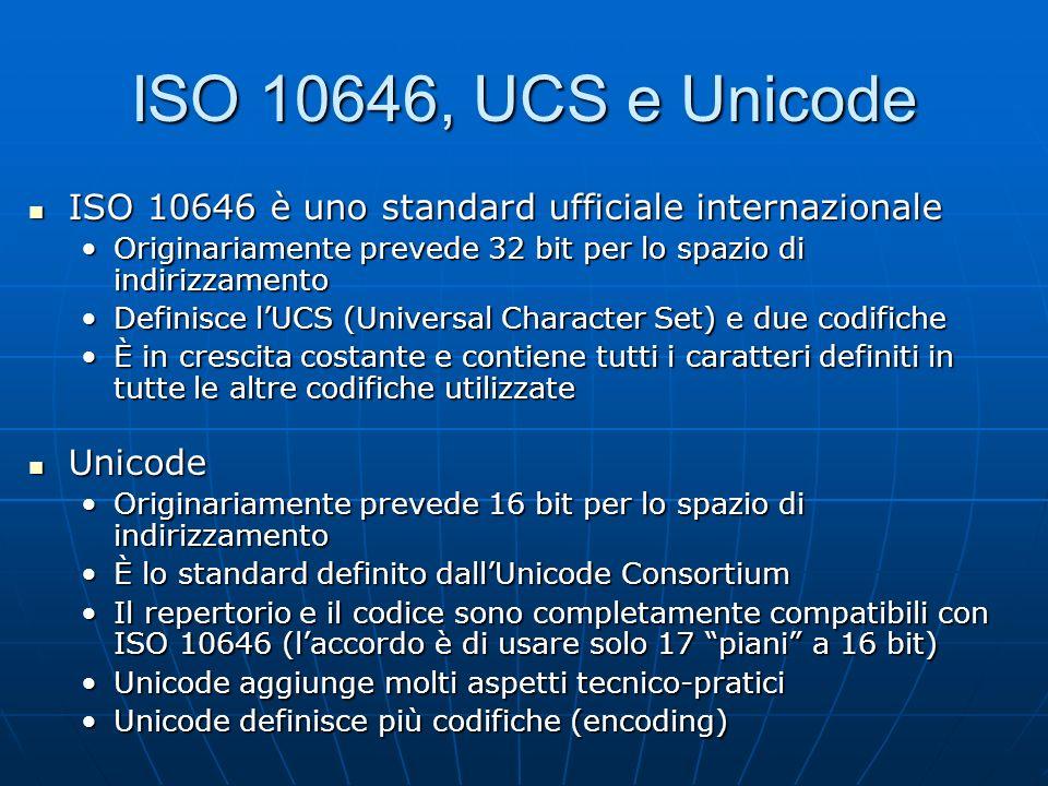ISO 10646, UCS e Unicode ISO 10646 è uno standard ufficiale internazionale ISO 10646 è uno standard ufficiale internazionale Originariamente prevede 3