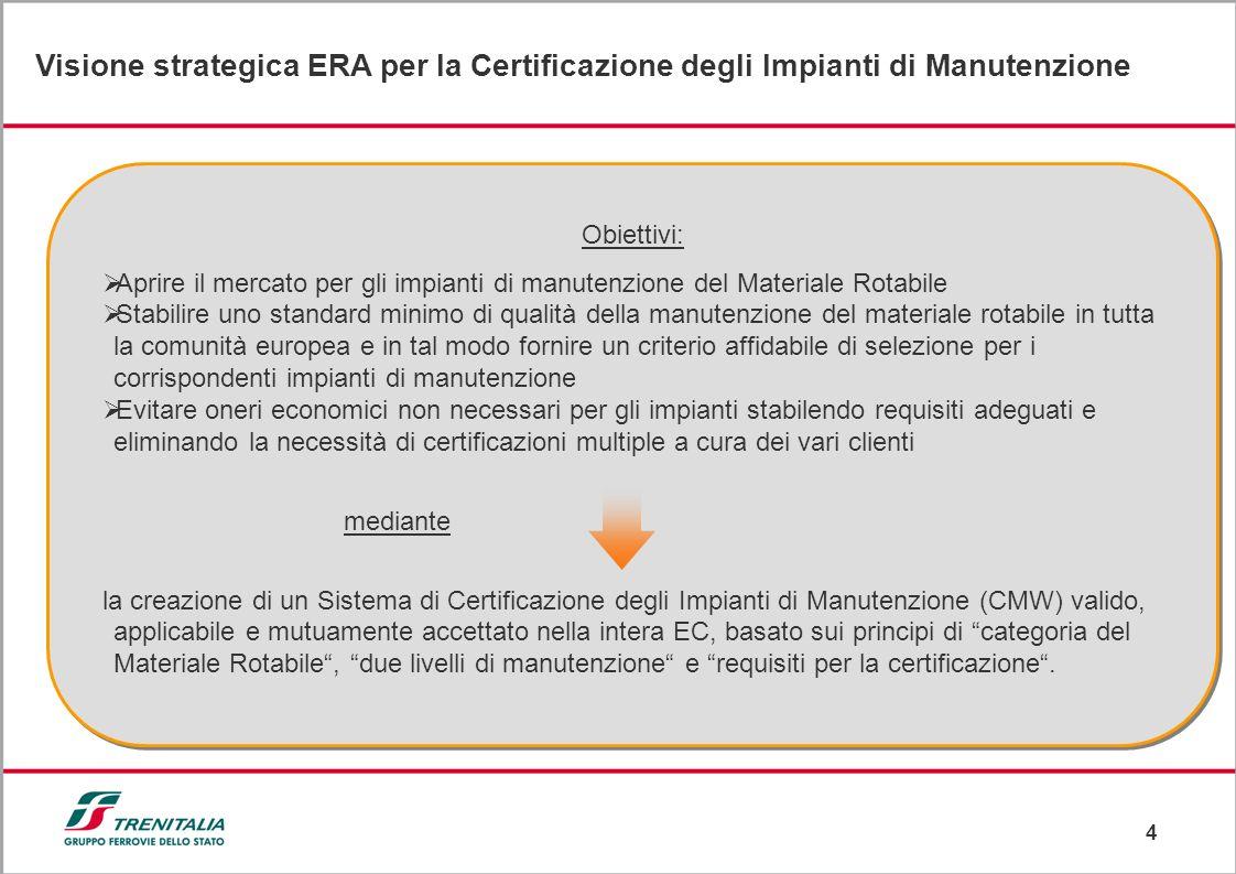 4 Visione strategica ERA per la Certificazione degli Impianti di Manutenzione al fine di ottenere presentazioni semplici ed efficaci nella comunicazio