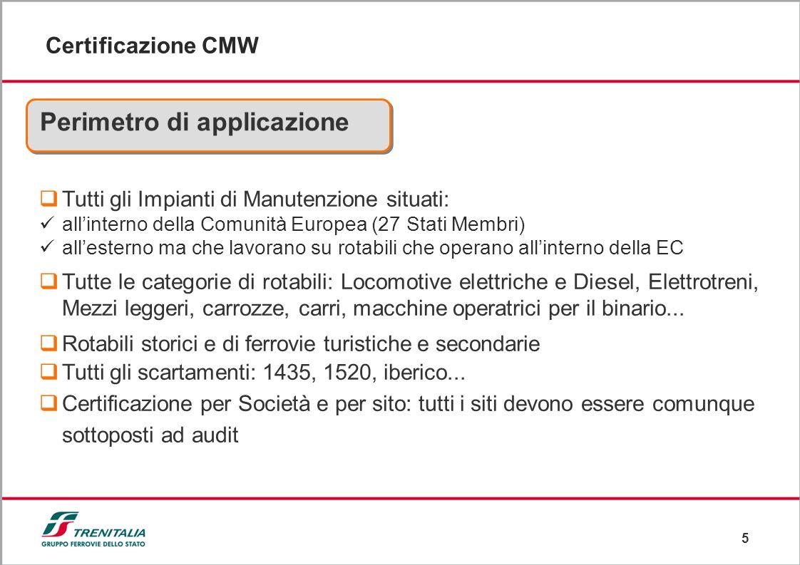 5 Certificazione CMW Tutti gli Impianti di Manutenzione situati: allinterno della Comunità Europea (27 Stati Membri) allesterno ma che lavorano su rot