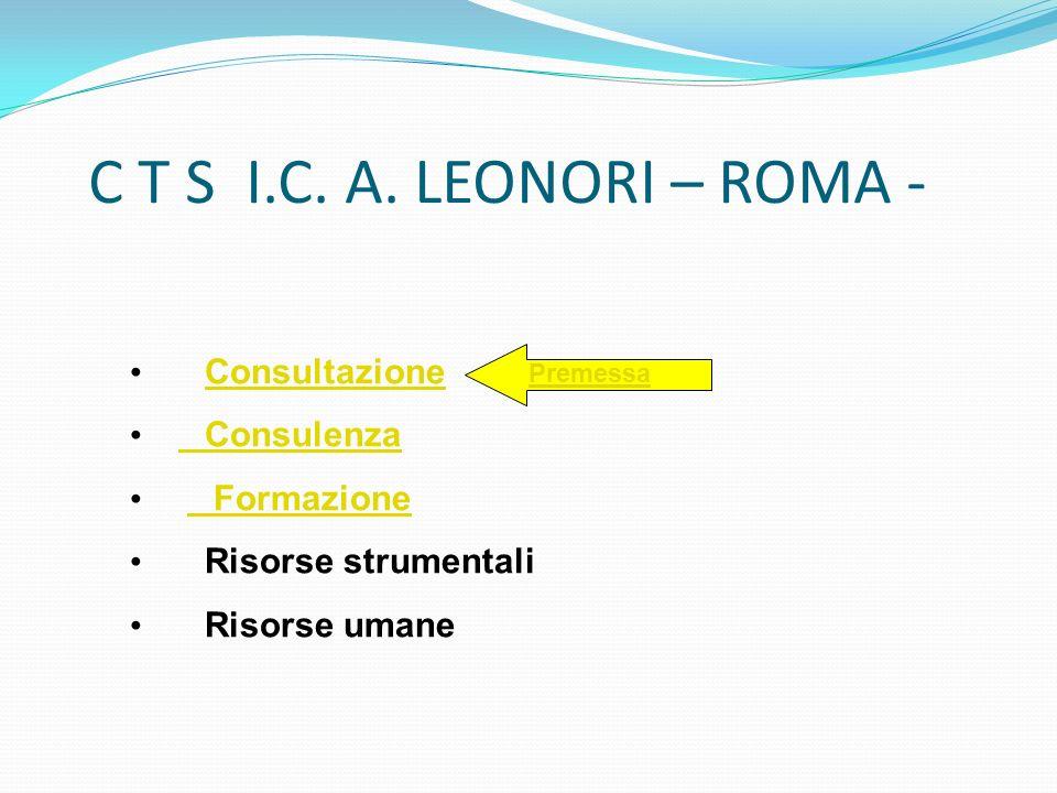 Consultazione Consulenza Consulenza Formazione Formazione Risorse strumentali Risorse umane C T S I.C. A. LEONORI – ROMA - Premessa