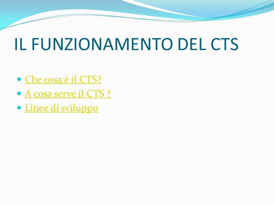 IL FUNZIONAMENTO DEL CTS Che cosa è il CTS? A cosa serve il CTS ? Linee di sviluppo