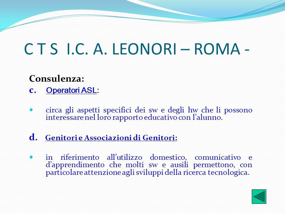 C T S I.C. A. LEONORI – ROMA - Consulenza: c. Operatori ASL: circa gli aspetti specifici dei sw e degli hw che li possono interessare nel loro rapport