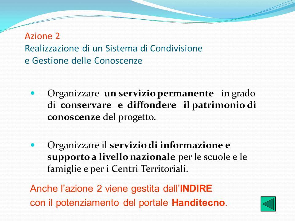 Azione 2 Realizzazione di un Sistema di Condivisione e Gestione delle Conoscenze Organizzare un servizio permanente in grado di conservare e diffonder