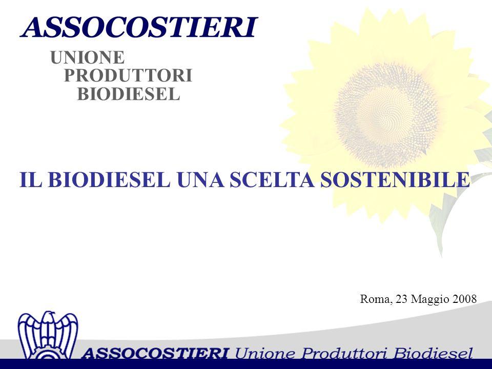 PRODUTTORI UNIONE BIODIESEL Roma, 23 Maggio 2008 IL BIODIESEL UNA SCELTA SOSTENIBILE