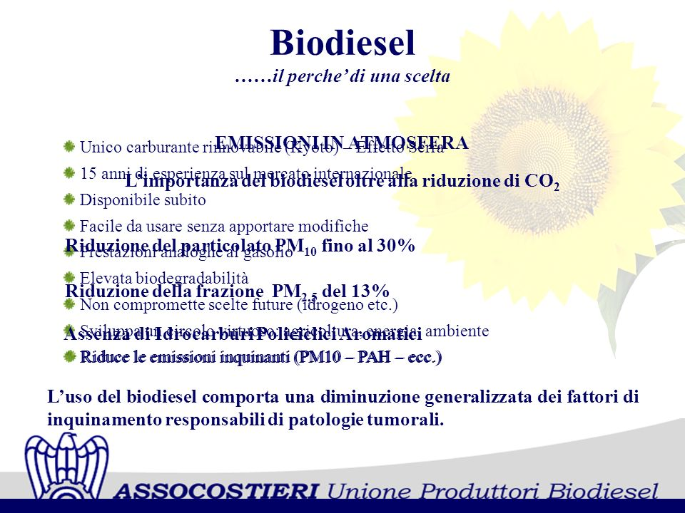 Biodiesel ……il perche di una scelta Unico carburante rinnovabile (Kyoto) – Effetto Serra 15 anni di esperienza sul mercato internazionale Disponibile