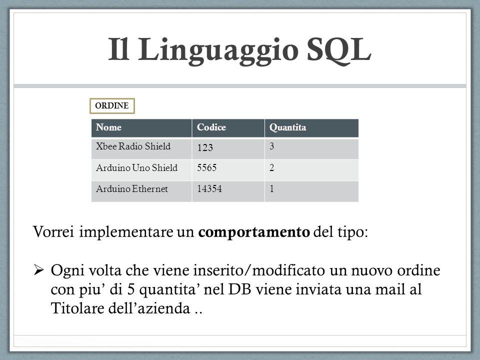 Il Linguaggio SQL NomeCodiceQuantita Xbee Radio Shield 123 3 Arduino Uno Shield55652 Arduino Ethernet143541 ORDINE Vorrei implementare un comportament
