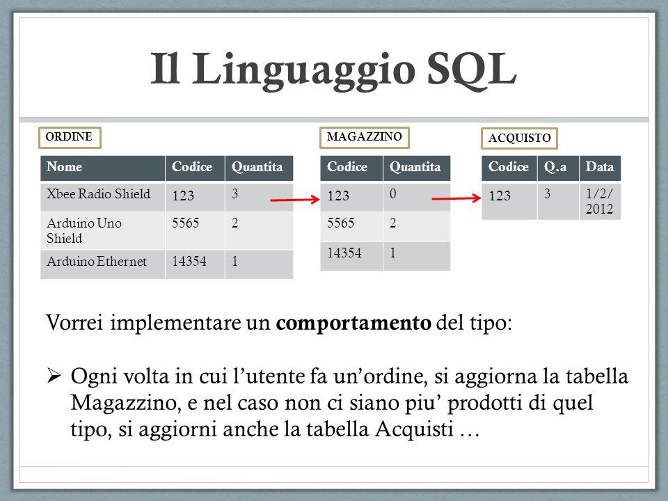 Il Linguaggio SQL NomeCodiceQuantita Xbee Radio Shield 123 3 Arduino Uno Shield 55652 Arduino Ethernet143541 ORDINE Vorrei implementare un comportamen