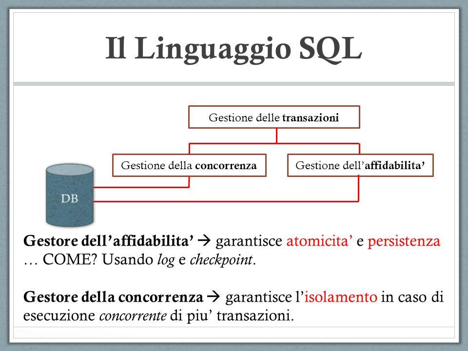 Il Linguaggio SQL Gestione delle transazioni Gestione della concorrenza Gestione dell affidabilita Gestore dellaffidabilita garantisce atomicita e per