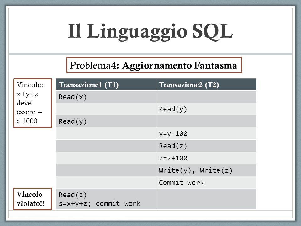 Il Linguaggio SQL Problema4 : Aggiornamento Fantasma Transazione1 (T1)Transazione2 (T2) Read(x) Read(y) y=y-100 Read(z) z=z+100 Write(y), Write(z) Com