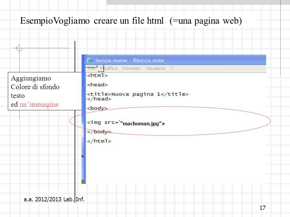 17 EsempioVogliamo creare un file html (=una pagina web) Aggiungiamo Colore di sfondo testo ed unimmagine machoman.jpg> a.a.