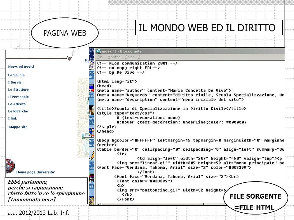 2 IL MONDO WEB ED IL DIRITTO PAGINA WEB FILE SORGENTE =FILE HTML Ebbè parlamme, perché si ragiunamme chisto fatto n ce o spiegamme [Tammuriata nera] a.a.