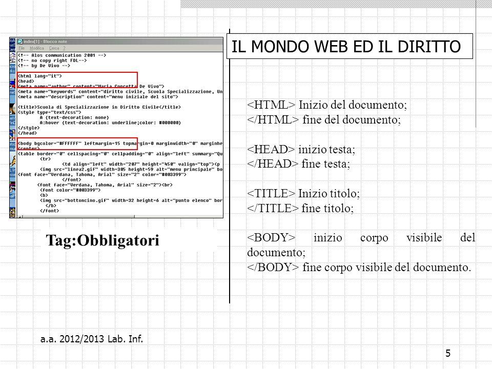 16 EsempioVogliamo creare un file html (=una pagina web) Aggiungiamo Colore di sfondo testo ed unimmagine La palestra Machoman vi da il benvenuto a.a.