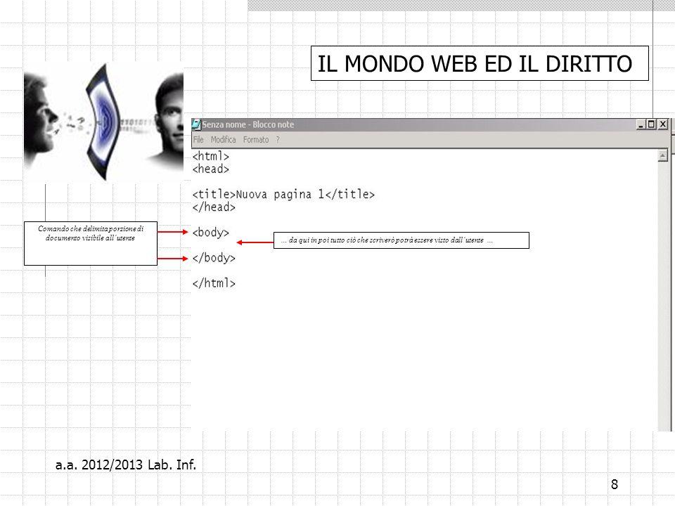 8 Comando che delimita porzione di documento visibile allutente … da qui in poi tutto ciò che scriverò potrà essere visto dallutente … IL MONDO WEB ED IL DIRITTO a.a.