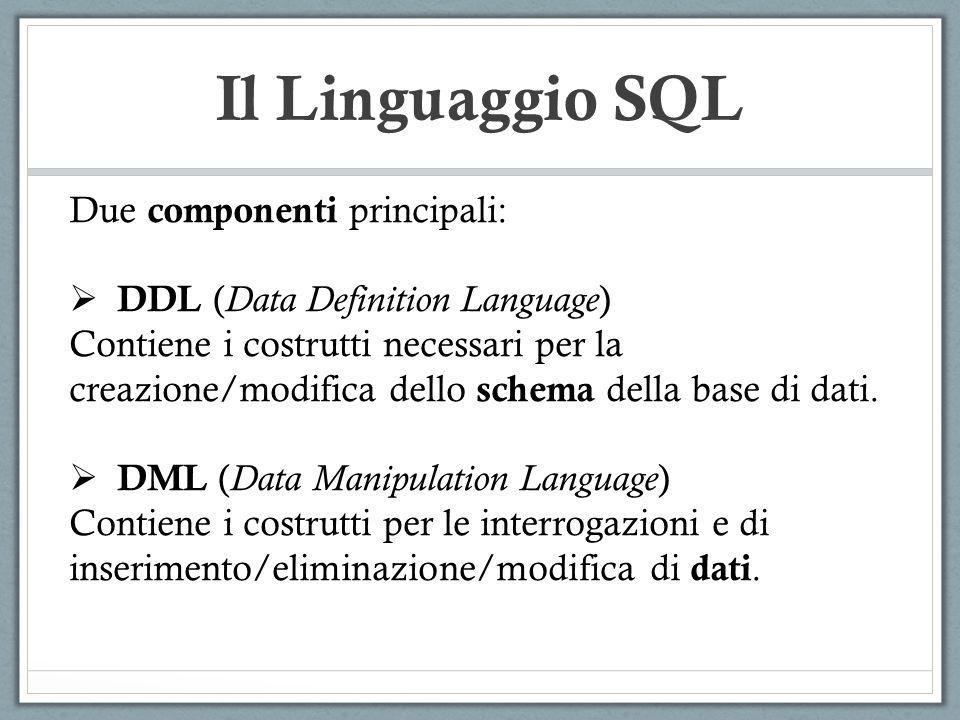 SQL: DML SELECT NOME, COGNOME FROM GENITORI, GENITORI WHERE (GENITORI.NOME=GENITORI.NOMEGEN) … NomeCognomeNomeGenCognomeGen MatteoBianchiMicheleBianchi MicheleBianchiGianniBianchi MatteoBianchiLuciaRossi LuciaRossiSaraRossi NicolaVerdiSimoneVerdi GENITORI