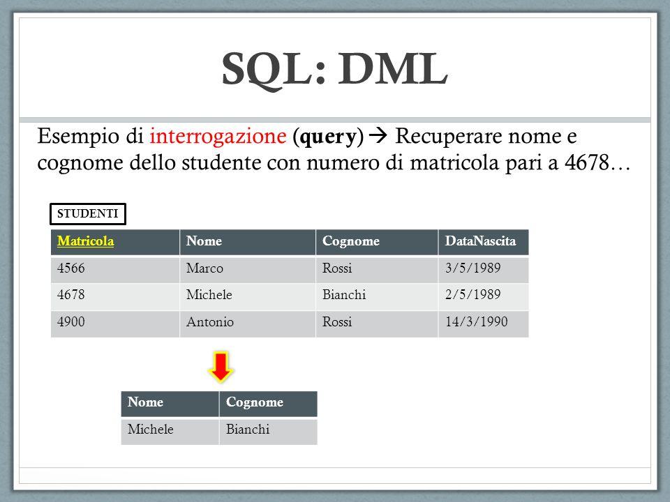 SQL: DML Sintassi Generale: SELECT ListaAttributi1 FROM ListaTabelle WHERE Condizione GROUPBY ListaAttributi2 HAVING Condizione ……… STEP1 : Partizionamento della tabella ………