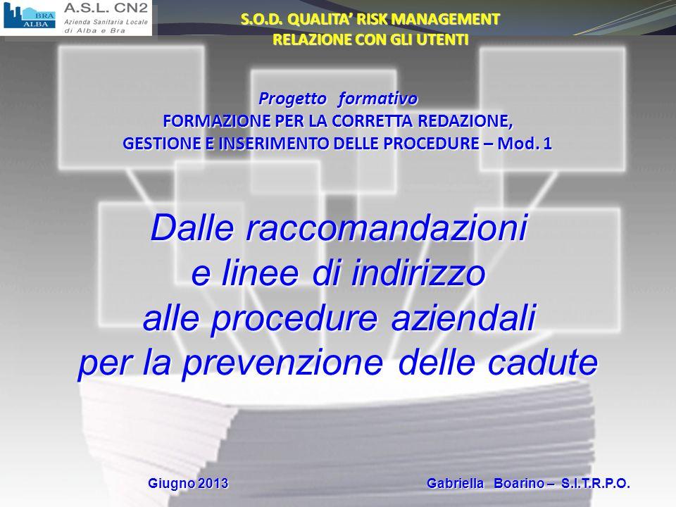 Giugno 2013 Gabriella Boarino Normative vigenti Profili professionali e Codici Deontologici Norme CEI-EN-ISO-IEC-ITU RaccomandazioniAltro… EBM - EBN Linee Guida Linee di indirizzo Mandati aziendali RedazioneProcedure (o loro revisione)