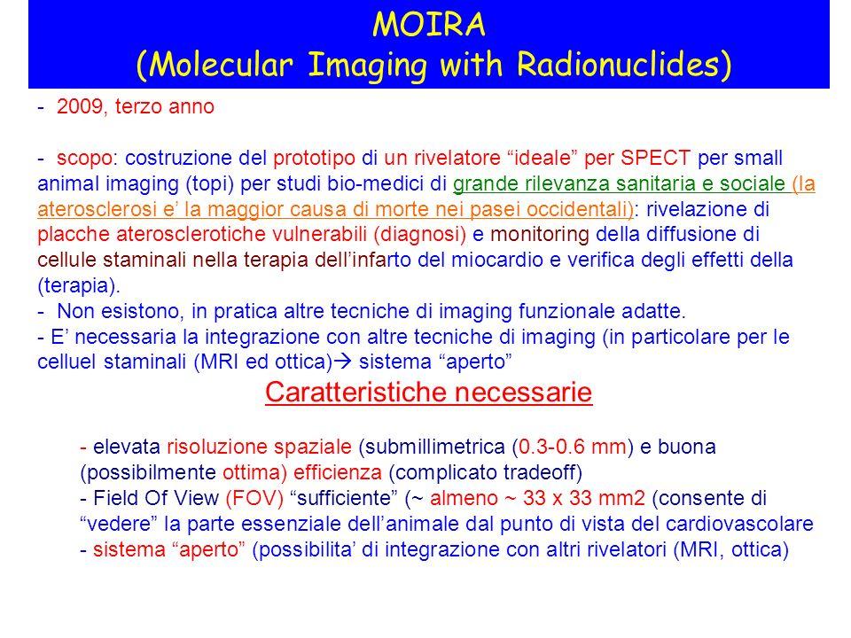 MOIRA (Molecular Imaging with Radionuclides) - 2009, terzo anno - scopo: costruzione del prototipo di un rivelatore ideale per SPECT per small animal imaging (topi) per studi bio-medici di grande rilevanza sanitaria e sociale (la aterosclerosi e la maggior causa di morte nei pasei occidentali): rivelazione di placche aterosclerotiche vulnerabili (diagnosi) e monitoring della diffusione di cellule staminali nella terapia dellinfarto del miocardio e verifica degli effetti della (terapia).