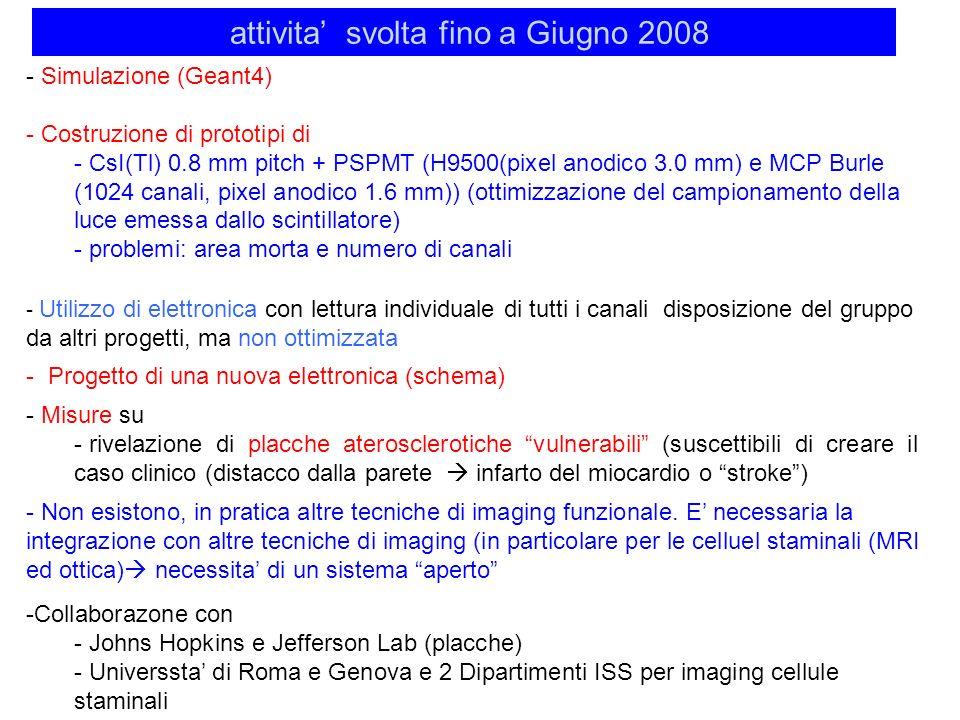 attivita svolta fino a Giugno 2008 - Simulazione (Geant4) - Costruzione di prototipi di - CsI(Tl) 0.8 mm pitch + PSPMT (H9500(pixel anodico 3.0 mm) e