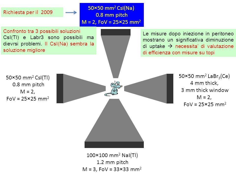 50×50 mm 2 CsI(Tl) 0.8 mm pitch M = 2, FoV = 25×25 mm 2 50×50 mm 2 LaBr 3 (Ce) 4 mm thick, 3 mm thick window M = 2, FoV = 25×25 mm 2 50×50 mm 2 CsI(Na) 0.8 mm pitch M = 2, FoV = 25×25 mm 2 100×100 mm 2 NaI(Tl) 1.2 mm pitch M = 3, FoV = 33×33 mm 2 Richiesta per il 2009 Confronto tra 3 possibili soluzioni CsI(Tl) e Labr3 sono possibili ma dievrsi problemi.