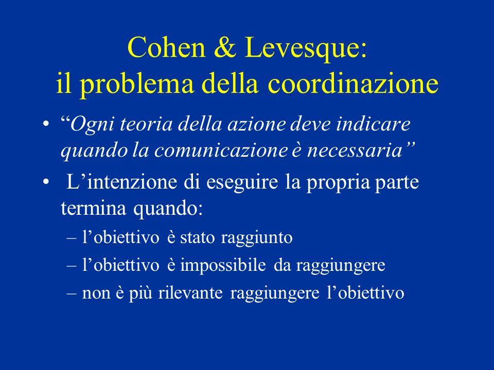 Cohen & Levesque: il problema della coordinazione Ogni teoria della azione deve indicare quando la comunicazione è necessaria Lintenzione di eseguire la propria parte termina quando: –lobiettivo è stato raggiunto –lobiettivo è impossibile da raggiungere –non è più rilevante raggiungere lobiettivo