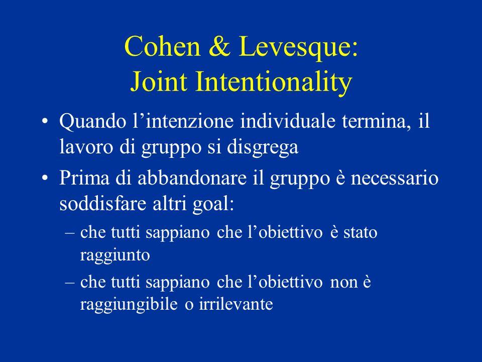 Cohen & Levesque: Joint Intentionality Quando lintenzione individuale termina, il lavoro di gruppo si disgrega Prima di abbandonare il gruppo è necessario soddisfare altri goal: –che tutti sappiano che lobiettivo è stato raggiunto –che tutti sappiano che lobiettivo non è raggiungibile o irrilevante