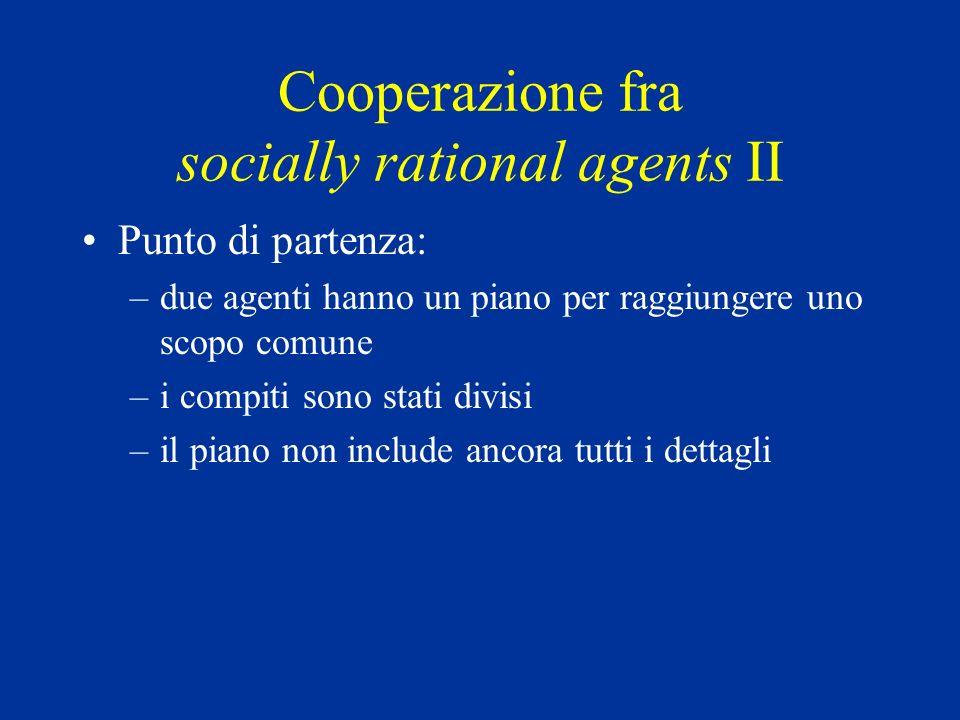 Cooperazione fra socially rational agents II Punto di partenza: –due agenti hanno un piano per raggiungere uno scopo comune –i compiti sono stati divisi –il piano non include ancora tutti i dettagli