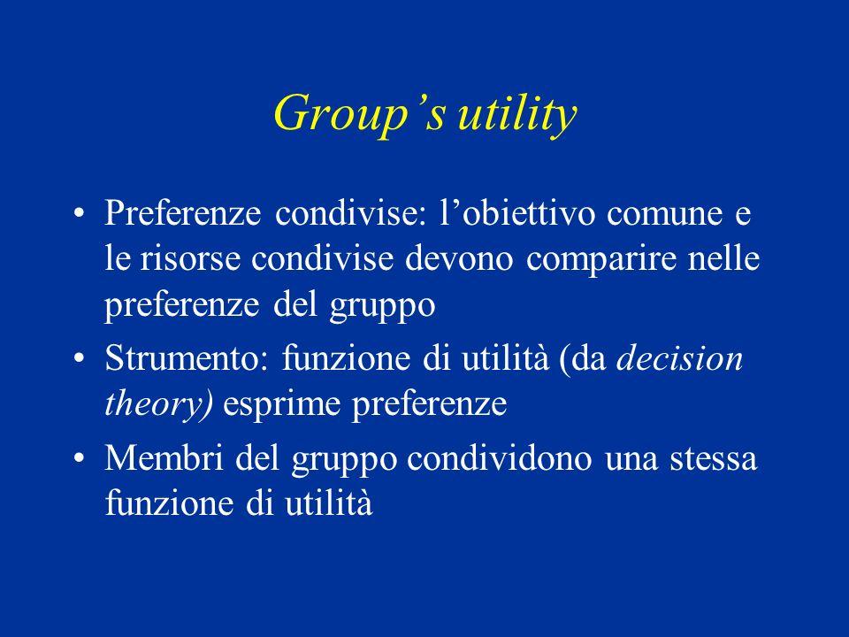 Groups utility Preferenze condivise: lobiettivo comune e le risorse condivise devono comparire nelle preferenze del gruppo Strumento: funzione di utilità (da decision theory) esprime preferenze Membri del gruppo condividono una stessa funzione di utilità
