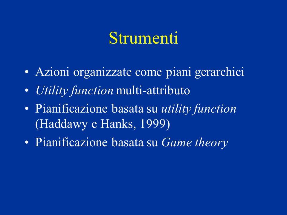 Strumenti Azioni organizzate come piani gerarchici Utility function multi-attributo Pianificazione basata su utility function (Haddawy e Hanks, 1999) Pianificazione basata su Game theory