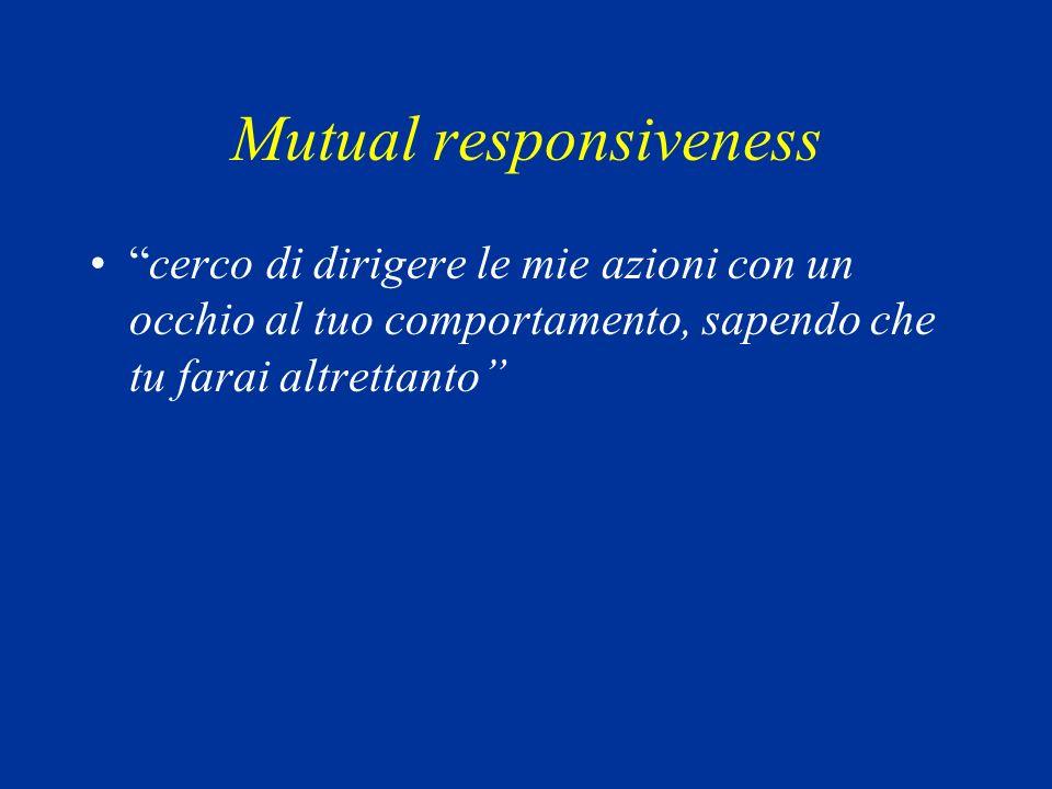 Mutual responsiveness cerco di dirigere le mie azioni con un occhio al tuo comportamento, sapendo che tu farai altrettanto
