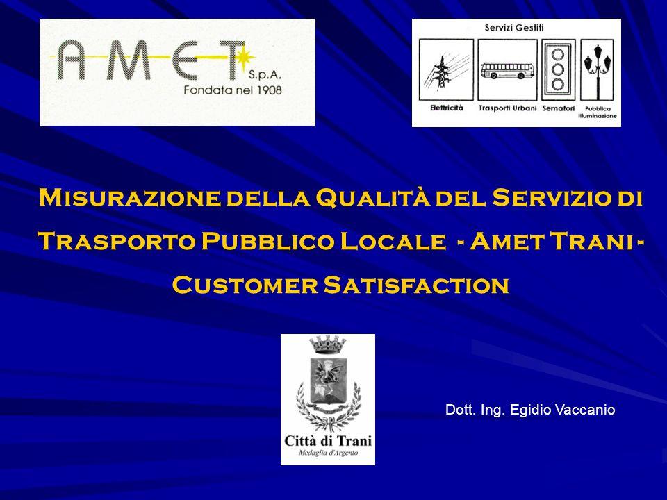 Misurazione della Qualità del Servizio di Trasporto Pubblico Locale - Amet Trani - Customer Satisfaction Dott.