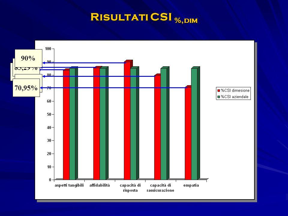 83,55% 85,29% 90% 79,67% 70,95% Risultati CSI %,dim