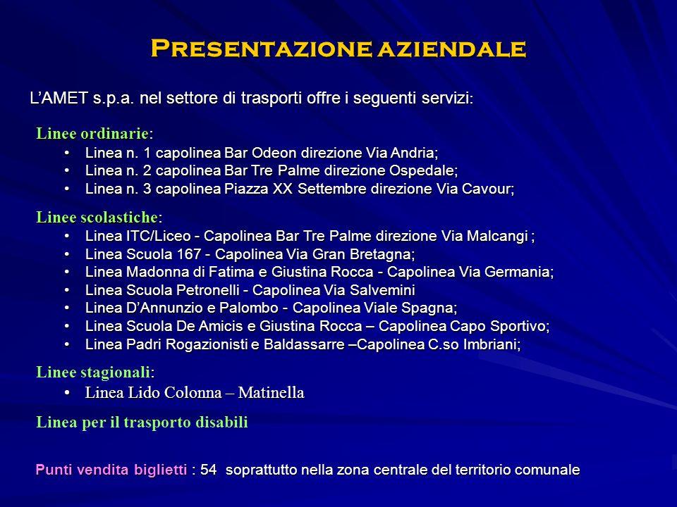 Presentazione aziendale Linee ordinarie: Linea n.