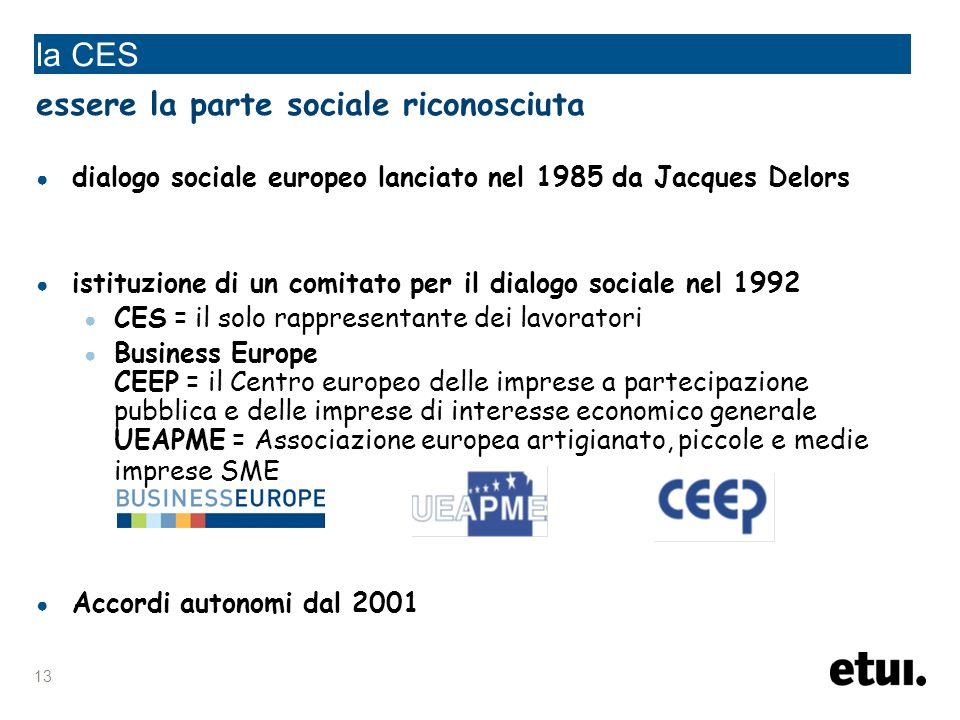 13 la CES essere la parte sociale riconosciuta dialogo sociale europeo lanciato nel 1985 da Jacques Delors istituzione di un comitato per il dialogo sociale nel 1992 CES = il solo rappresentante dei lavoratori Business Europe CEEP = il Centro europeo delle imprese a partecipazione pubblica e delle imprese di interesse economico generale UEAPME = Associazione europea artigianato, piccole e medie imprese SME Accordi autonomi dal 2001